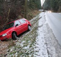 A car that apparently lost course near a dip on Robinson Road was one of many vehicles seen by slippery roadsides Monday morning.
