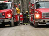 Salt Spring Fire-Rescue crews on scene at a Sky Valley Road fire last week.