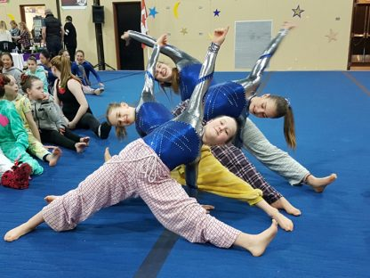 Salt Spring gymnasts at the Comox Valley Chimo Gymnastics Pajama Meet are, from front to back, Kumi Nash, Isabelle Kerrigan, Nina de Roo and Nikoya Catry Bauer.