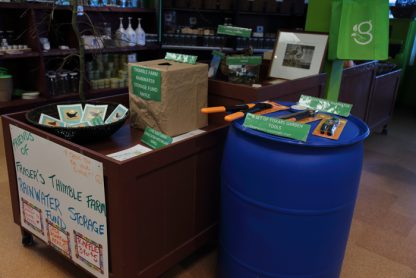 Prize display for the Fraser's Thimble Farm Rainwater Storage Fund at the Green store in Ganges. Tickets are 3 for $5. Draw date is March 4 at the store.