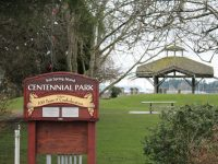Centennial Park in Ganges, with gazebo in the background that will eventually be removed and a new performance area created in another spot.