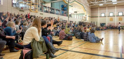 "The Gulf Islands Secondary School student body listens to a presentation by ""Bipolar Babe"" Andrea Paquette, executive director of the Stigma-Free Society, seen at far right."
