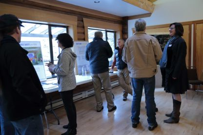 Discussions underway at the Harbour Authority of Salt Spring Island open house at Lions Hall on Saturday, Jan. 28.