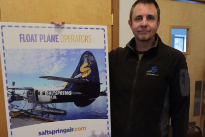 Salt Spring Air principal Philip Reece at the Harbour Authority of Salt Spring Island open house on Jan. 28.