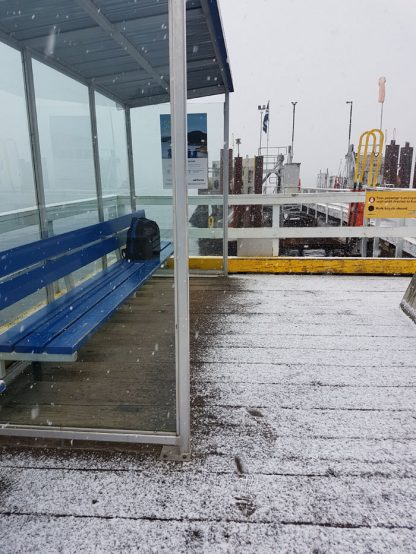 Minimal facilities for foot passengers at the Vesuvius ferry terminal have proved inadequate for this winter's cold conditions, but improvements aren't in the short-term forecast.