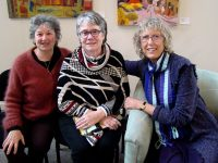 From left, Anna Haltrecht, Judith Avery and JayaLynda Cole at last month's Death Café event.