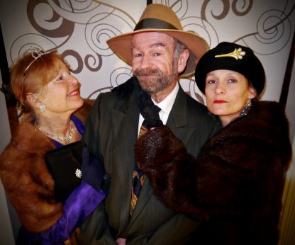 Salt Spring Community Theatre players from left, Wendy Beatty, Scott Merrick and Rosita Larrain in costume for Lend Me a Tenor, which opens Friday, March 31 at Mahon Hall.