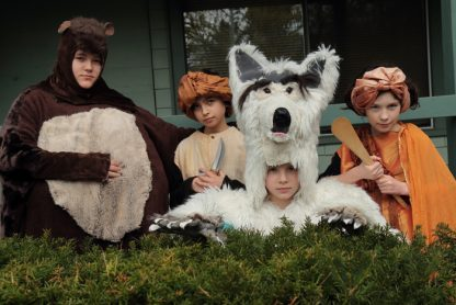 Stagecoach Theatre School students, from left, Mandy Poystila, Lily McCluskey, Maya Wilson and Lizzie Thompson — just a few of the creatures from the Jungle Book show set for this weekend at ArtSpring — get in costume and character for a promotional photo.