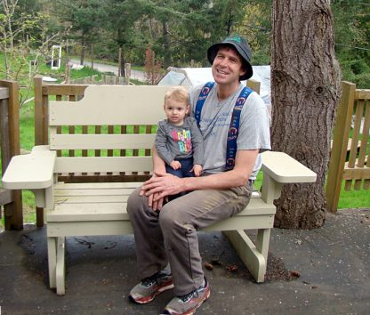 Salt Spring resident Dion Hackett with his granddaughter Ursa. Hackett is lobbying for better up-front financial incentives to encourage homeowners to undertake energy-saving improvements.