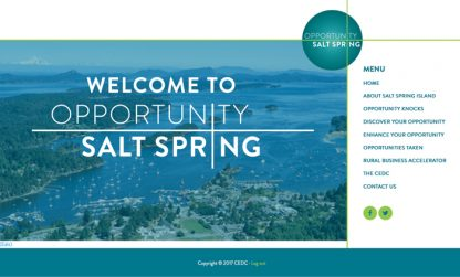 Screen shot for new Opportunity Salt Spring website to encourage economic development on the island.