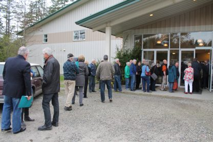 Line-up outside Community Gospel Chapel before the North Salt Spring Waterworks District annual general meeting on April 25.