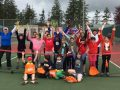 One of the Tennis Day in Canada groups at Portlock Park on May 13.