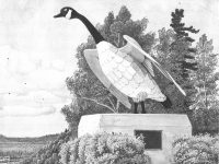 A painting of the Wawa Goose overlooking Highway 17 by mining engineer Michael Cleary.